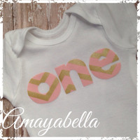 """First birthday one piece bodysuit pink and gold chevron """"ONE"""" photo prop party"""