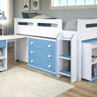 Mateo Blue and White Loft Bed for Kids