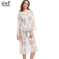 Dotfashion Embroidery Mesh Dress Women White Vintage Sexy Semi Sheer Midi Dresses 2017 Fashion Long Sleeve Beach Casual Dress