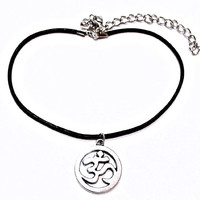 Om Unisex Round Hollow Customizable Choker Necklace Earrings