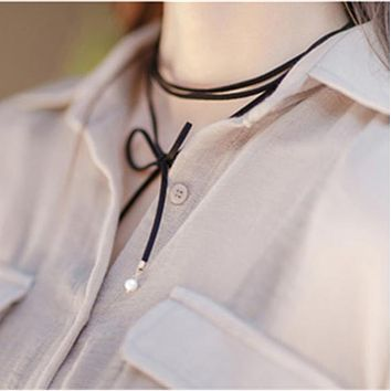 Simple Apparel Choker Necklace jewelry Long Accessories Black Rope Velvet Vintage Women Bijoux Length 150cm