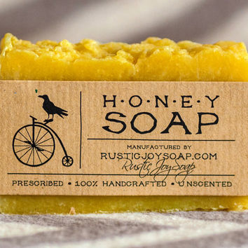 Honey Soap - Rustic Soap, All Natural Soap, Handmade Soap, honey, Homemade Soap, Fragrance Free Soap.
