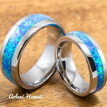Wedding Band Set of Tungsten Rings with Opal Inlay (6mm & 8mm width, Barrel Style)