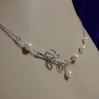Cultured Pearl and Branch Necklace, Wedding Bridesmasid Jewelry, Christmas Mom Sister Grandmother Jewelry Gift, White Gold Necklace