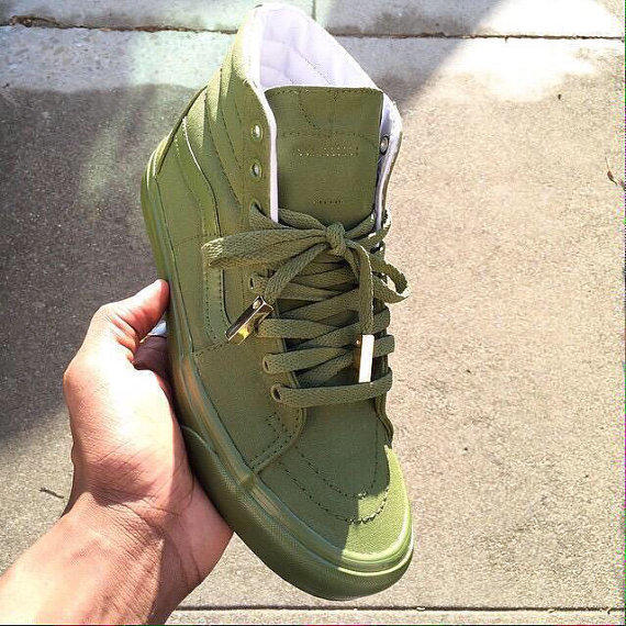 Olive Green Hi Top Vans with Gold lace