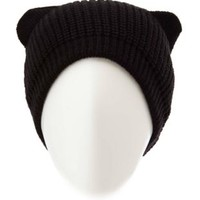 Slouchy Cat Ear Beanie by Charlotte Russe - Black