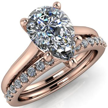 Willie Pear Moissanite Bow Under Cathedral Engagement Ring