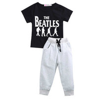 2017 New Design Summer Cotton Baby Set Boy Kids Clothes Outfits Gentleman Casual Tshirt Pants Fashion Cute Children Clothing
