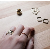 Gold Brass Square Geometric Stacking Ring Set | Mix and Match – LITTIONARY