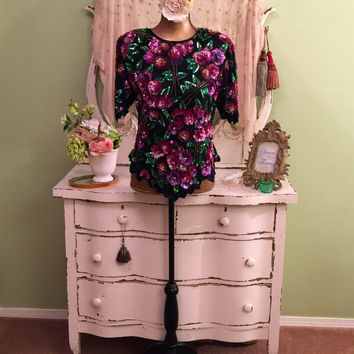 Multi Color Sequin Top, Fancy Evening Blouse, Sequin Top, Special Occasion Top, Vintage Clothing, Pink Purple Gold, Floral Party Top, L/M