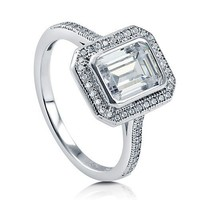 Emerald Cut Cubic Zirconia CZ 925 Sterling Silver Halo Ring 1.74 Ct #r513-CL