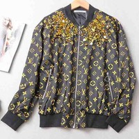 LV Louis Vuitton Print Long Sleeve Zipper Cardigan Sweatshirt Jacket Coat Windbreaker Sportswear