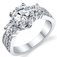 "1.50 Carat Round Brilliant Cubic Zirconia "" Past, Present, Future"" Sterling Silver 925 Wedding Engagement Ring = 1933046532"