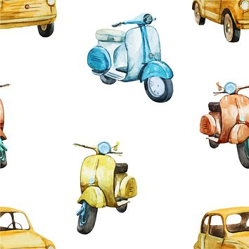 Italian Retro Scooters Multicolored Wallpaper Reusable Removable Accent Wall Interior Art (wal034)
