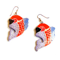 Vintage Red Fish Earrings - Hand Painted - Thailand Painted Earrings - French Wire Pierced - Deadstock NWOT - Unique Wood Earrings