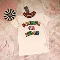 yves saint laurent ysl women casual fashion rainbow shiny letter embroider short sleeve cotton t shirt top tee