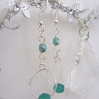 Emery silver plated wire loop and green bead earrings