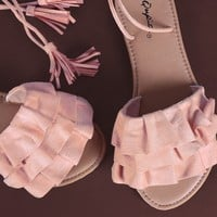Qupid Suede Tiered Ruffle Lace-Up Flat Sandal