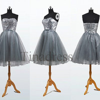 Custom Silver Gray Short Prom Dresses Evening Dresses Fashon Party Dresses Bridesmaid Dresses 2014 Homecoming Dress Cocktail Dresses
