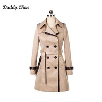 Especially long trench coat for women Double Breasted Slim female Wind breaker sashes Outerwear Spring burderry trenchcoat 2017
