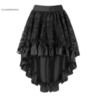 Charmian Women's Steampunk Gothic Vintage Skirt Black Floral High Low Skirt Sexy Wedding Party Lace Skirt with Zipper