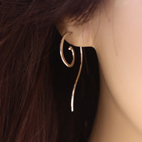 Small Sterling Silver, Gold, or Rose Gold Spiral Earrings with Tail Silver Dangle Earrings Hammered Handmade