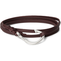 Miansai - Grained-Leather and Silver-Plated Hook Wrap Bracelet