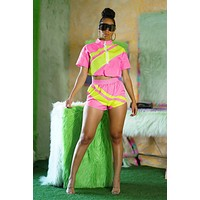 fhotwinter19 Women's fashion color matching summer leisure sports suit two-piece suit