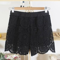 Chic Style Hook Flower Hollow Out Petal Edge Shorts For Women