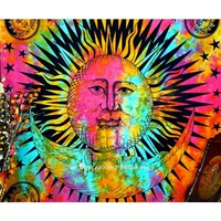 Buy Online Multi Color Celestial Sun and Moon Tie Dye Tapestry Bedspread