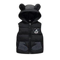 Children Autumn Winter Mickey Vest for 1-5T Boys Baby Kids Thick Cartoon Mouse Hooded Warm Waistcoat Clothing Outerwear