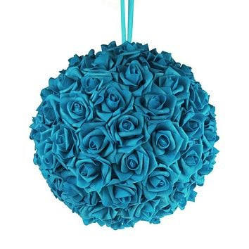 Soft Touch Flower Kissing Balls Wedding Centerpiece, 12-inch, Turquoise