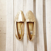 vintage gold woven leather flats, golden slip ons, womens shoes size 8