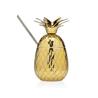 Pinapple Covrd Mug/straw Gold