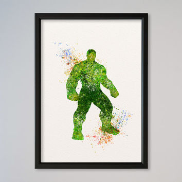 Hulk Poster Watercolor Print Marvel Comics The Avengers Assemble The Incredible Hulk