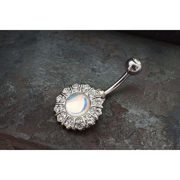Silver Glowing Revo Flower Belly Button Ring