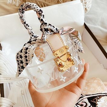 LV Louis Vuitton Hot Sale Women Shopping Bag PVC Chic Transparent Box Handbag Tote