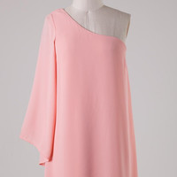 Solid Peach One Shouldered Dress