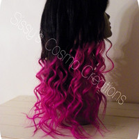 """Pink Passion Ombre Dip Dye Clip In Human Hair Extensions 18"""""""