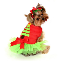 Christmas Tree Dress Dog Costume - Large