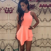 Sexy Black Ruffles Irregular Cut Zip One Piece Rompers Womens Jumpsuit 2016 Bodycon Bandage Bodysuit Party Overalls Club Outfits
