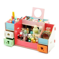 New Arrival DIY Wooden Makeup Storage Box Cosmetic Drawer Organizer Home Decoration Desktop Storage Makeup Cases
