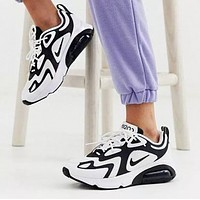 Nike Air Max 200 Fashion New Women Men Leisure Running Sport Sneakers Shoes White&Black