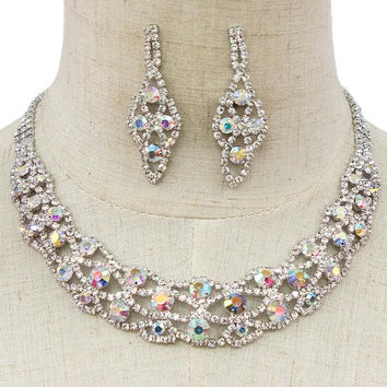 """10"""" silver crystal collar choker bib bridal prom necklace 2"""" earrings pageant bridal prom"""