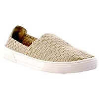 Kids Flat Shoes Slip On Weave Sneakers Casual Comfort Loafers Beige