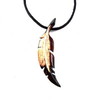 Mens Feather Necklace, Feather Pendant, Native American Inspired Feather Necklace, Wood Feather Necklace, Wood Feather Pendant, Men Jewelry