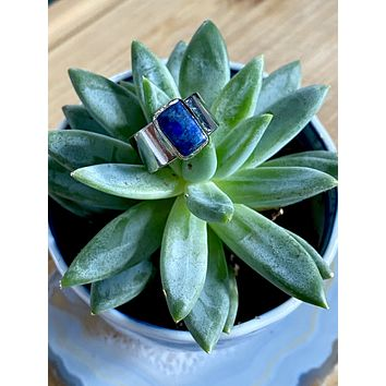 Lapis rectangle silver ring (size 6.5)