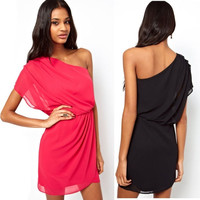 2015 New Fashion womens Summer sexy dress Contracted one-shoulder inclined shoulder dress chiffon dress = 1956884612