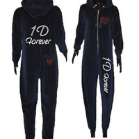Kids Girls Sparkly Love 1D One Direction Forever Diamante Onesuit 5-16yrs