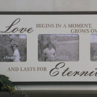 Wedding Gift Brown Picture Frames Sign Quote - Love begins in a moment, Grow over time, and lasts for Eternity